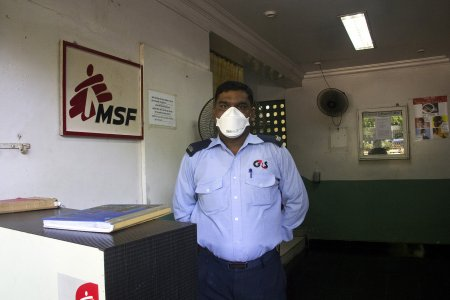 Security Guard at the entrance of MSF HIV/DRTB Clinic in Mumbai, India