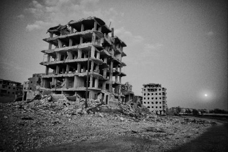 A building that was damaged during the offensives in Raqqa