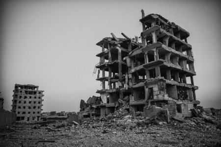 A building that was damaged during the offensives in Raqqa, the west side of the city. Raqqa residents are slowly returning back home find their houses either damaged or burned.