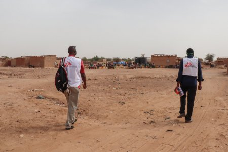 Two MSF workers in the Sahel region.