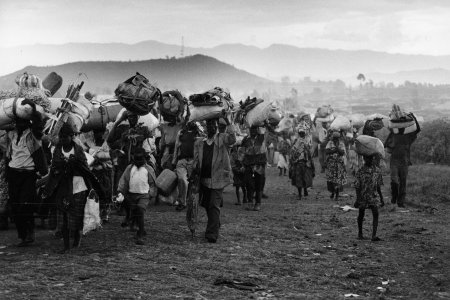 After days of heavy fighting between Hutu and Tutsi rebels, many Hutu refugees are on the run for the continuing violence.